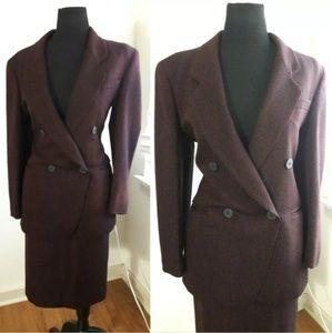 Jones New York Black Burgundy Wool Skirt Suit